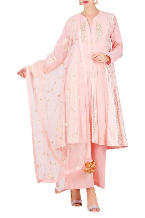 Mukesh embroidered kalidar kurta with pleated pant & dupatta