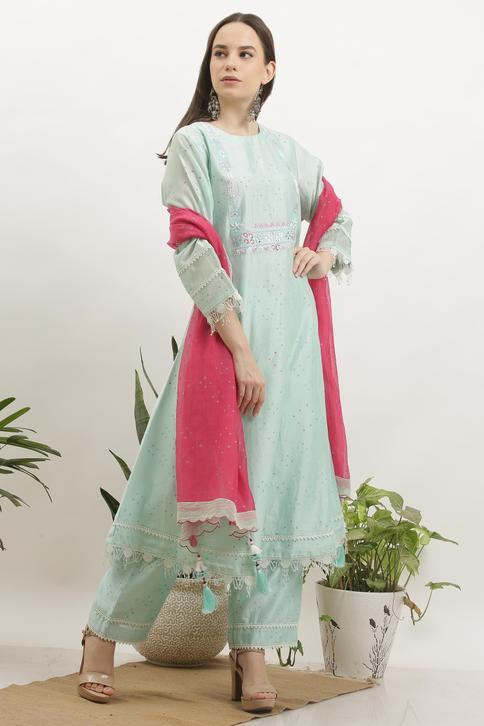 Chanderi Printed Kurta Set
