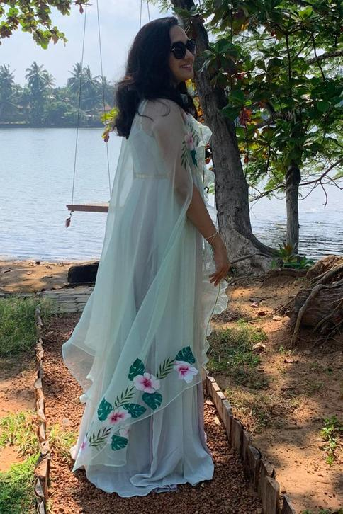 Hand Painted Organza Cape