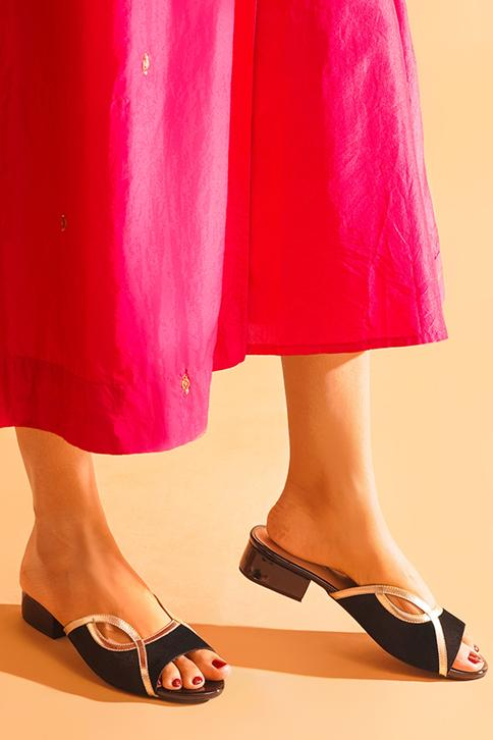 Alaya Peep Toe Block Heels