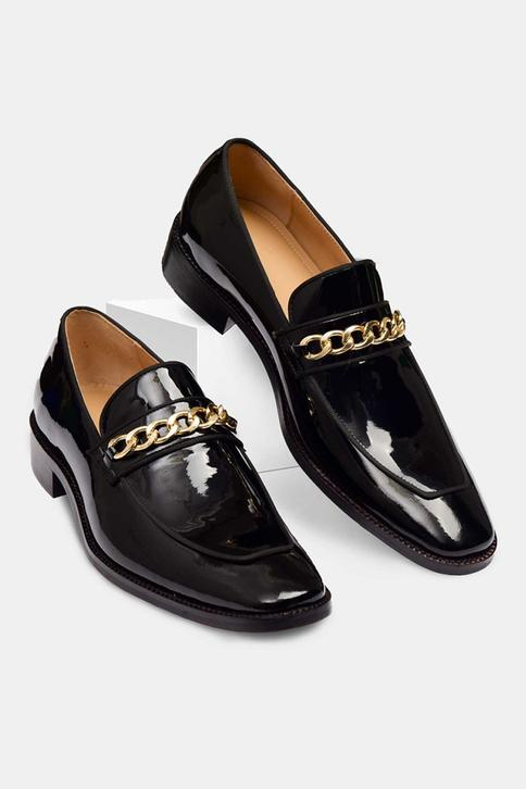 Hand Painted Square Toe Chain Loafers