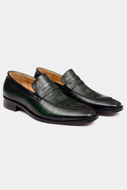 Hand Painted Crocodile Penny Loafers