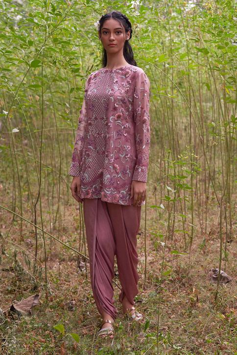 Embroidered Short Tunic & Dhoti Pant Set