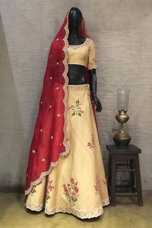 Embroidered Raw Silk Lehenga Set