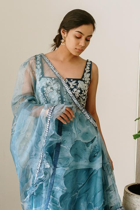 Ruffle Cape with Embroidered Lehenga Set