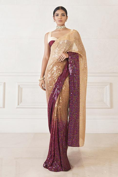Sequin Embellished Saree with Blouse