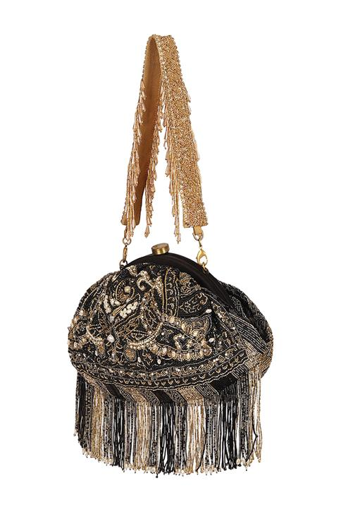 Embroidered Tassel Clutch