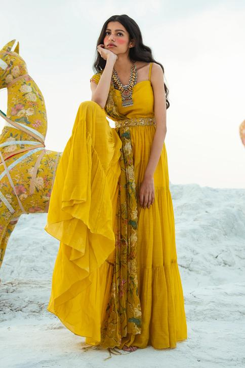 Tiered Anarkali with Printed Dupatta