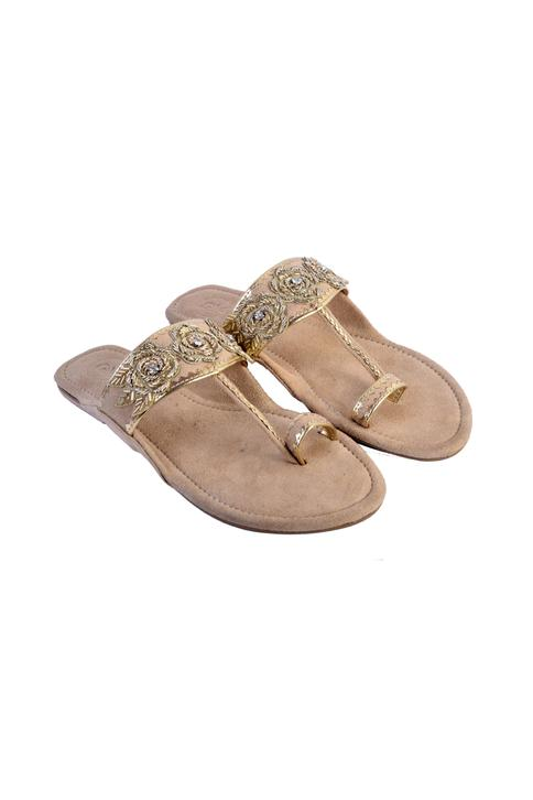 Embroidered Suede Kolhapuri Sandals