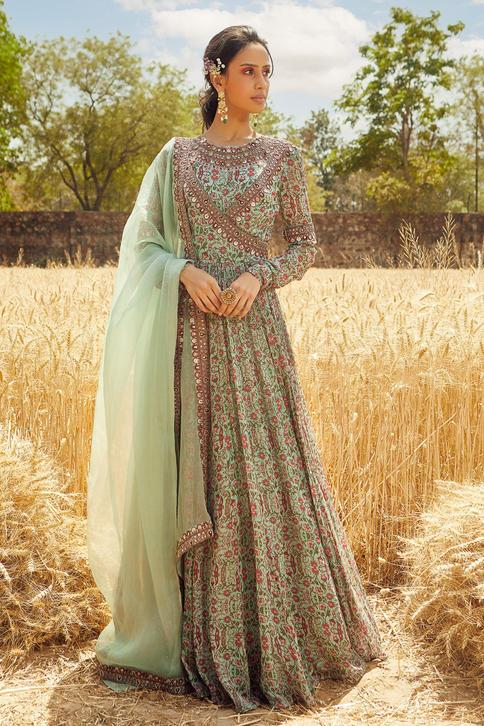 Floral Print Anarkali with Dupatta
