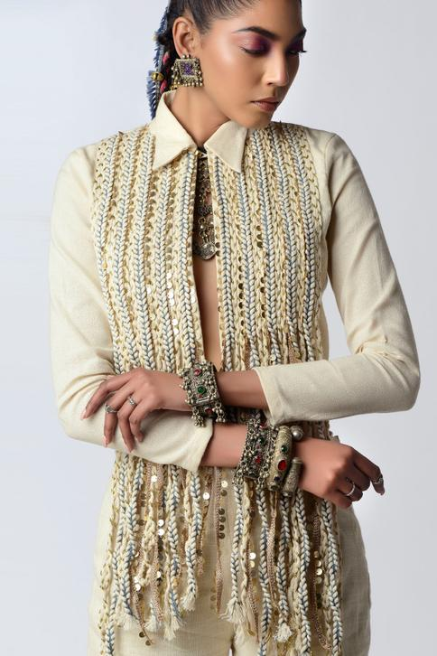 Embroidered Jacket with Bell Bottom Pant