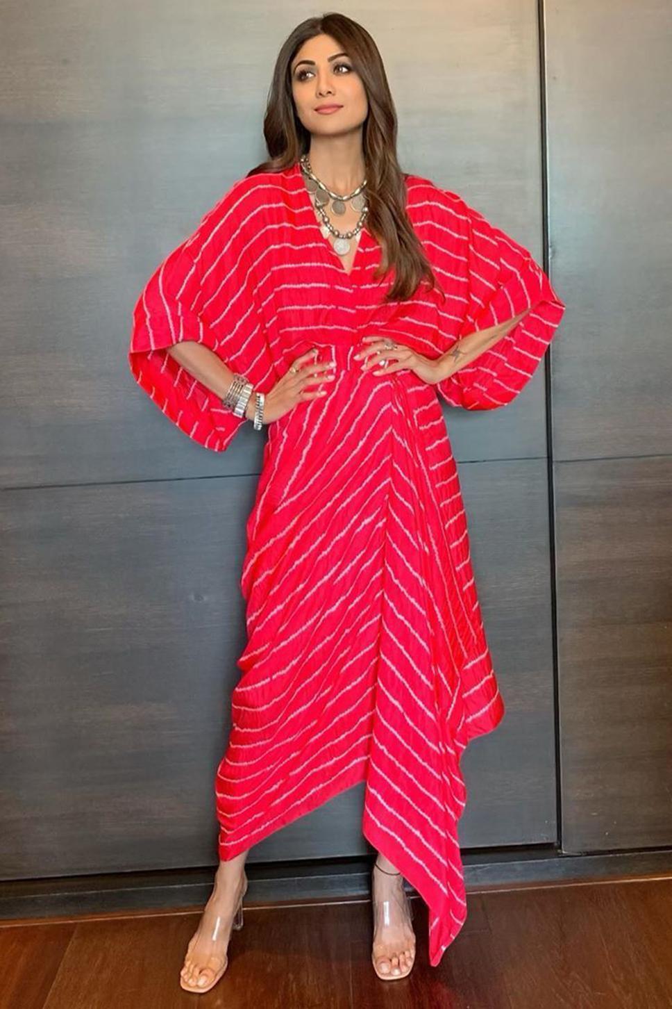 Bandhani Kimono Draped Dress