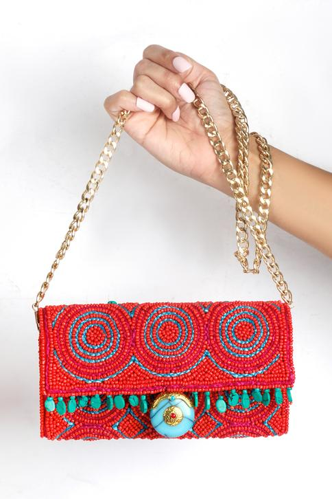 Embroidered Flap Sling Bag