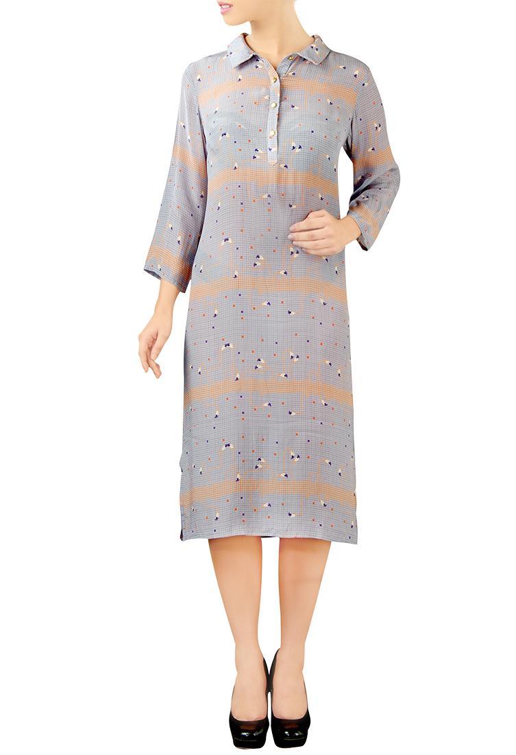 Grey flamingo print collared dress