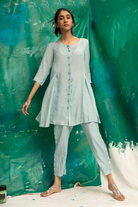 Button Down Kurta with Straight Pant