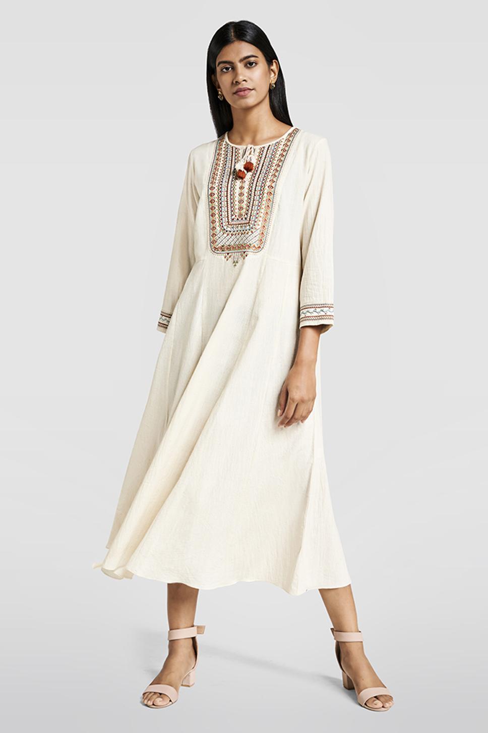 Matte White Embroidered Dress