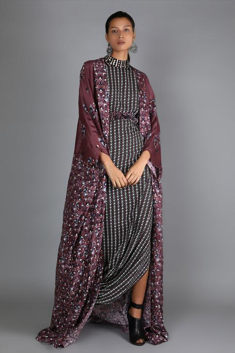 Draped Dress with Printed Jacket