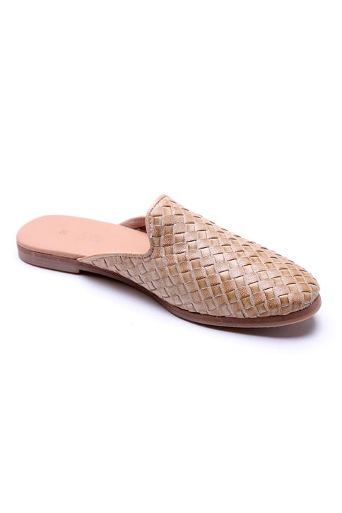 Textured Leather Mules