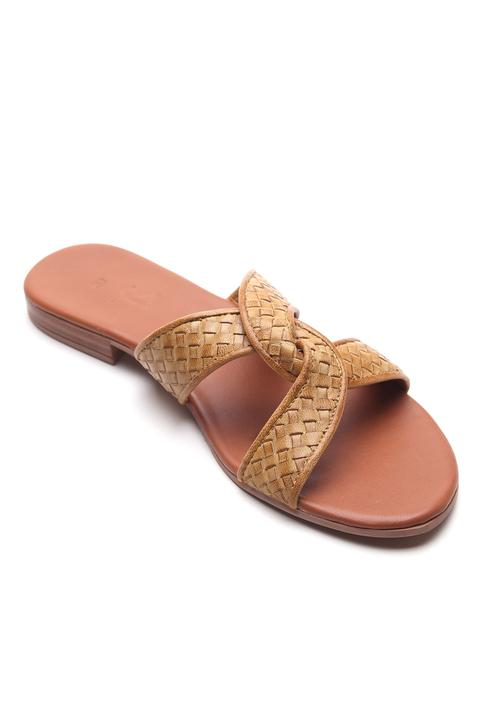 Leather Textured Strap Sandals