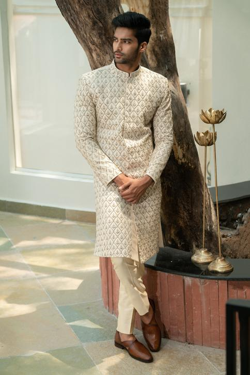 Embroidered Silk Sherwani Set