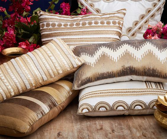 Silk Embellished Cushion Cover with Filler (Single Pc)