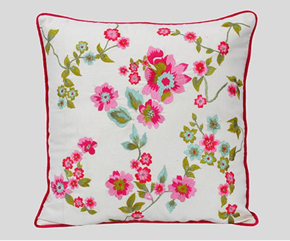 Embroidered Square Cushion Cover with Filler