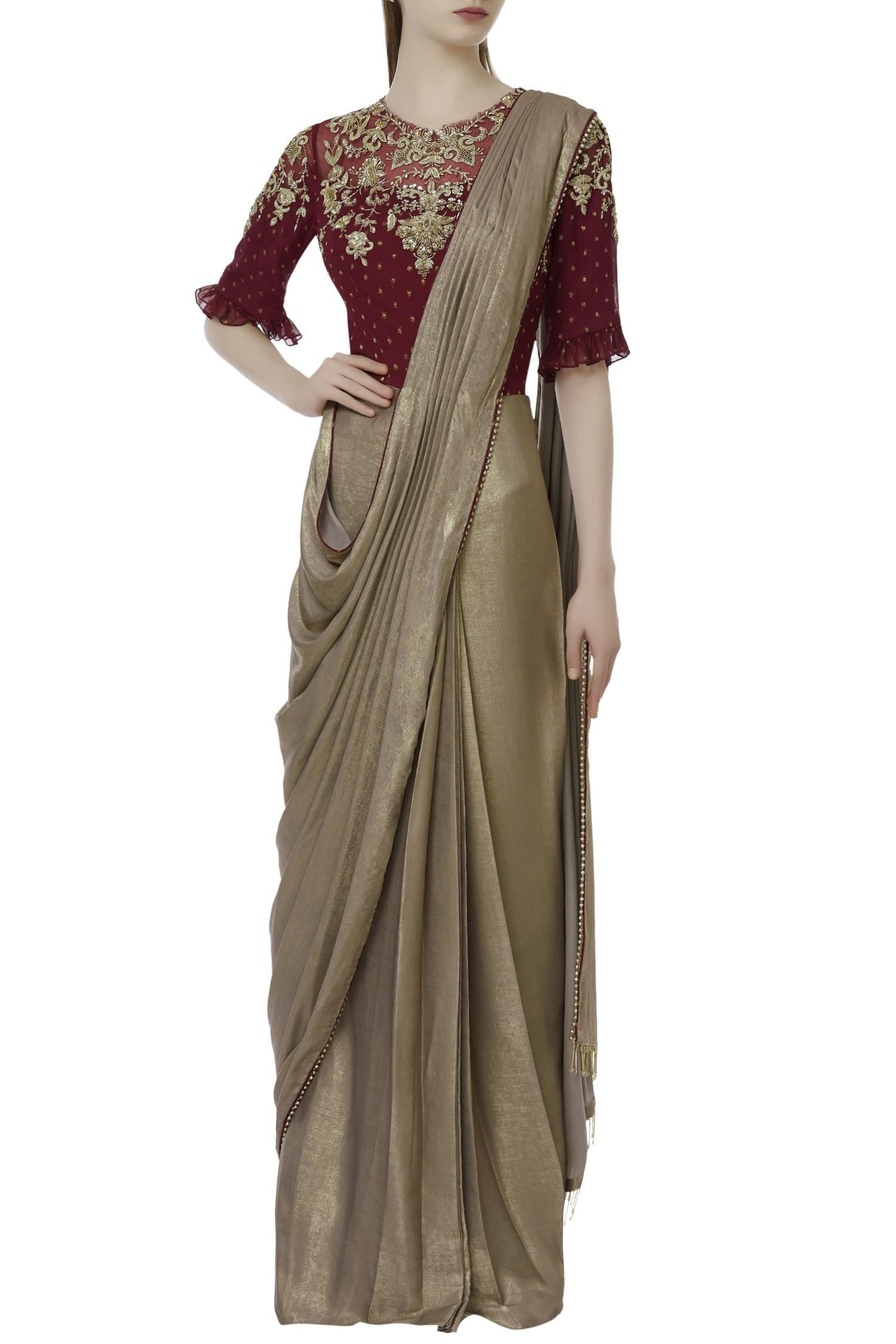Buy Pre Draped Saree Gown By Sartoriale At Aza Fashions