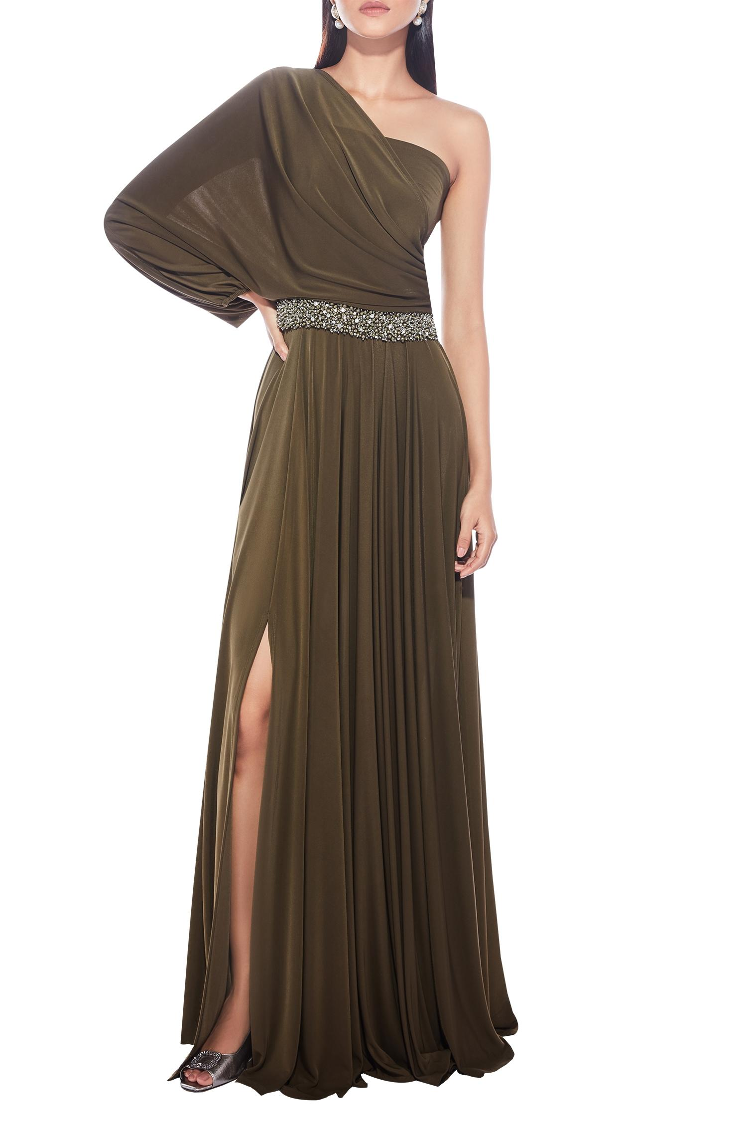 Buy One Shoulder Draped Gown By Ritika Bharwani At Aza Fashions