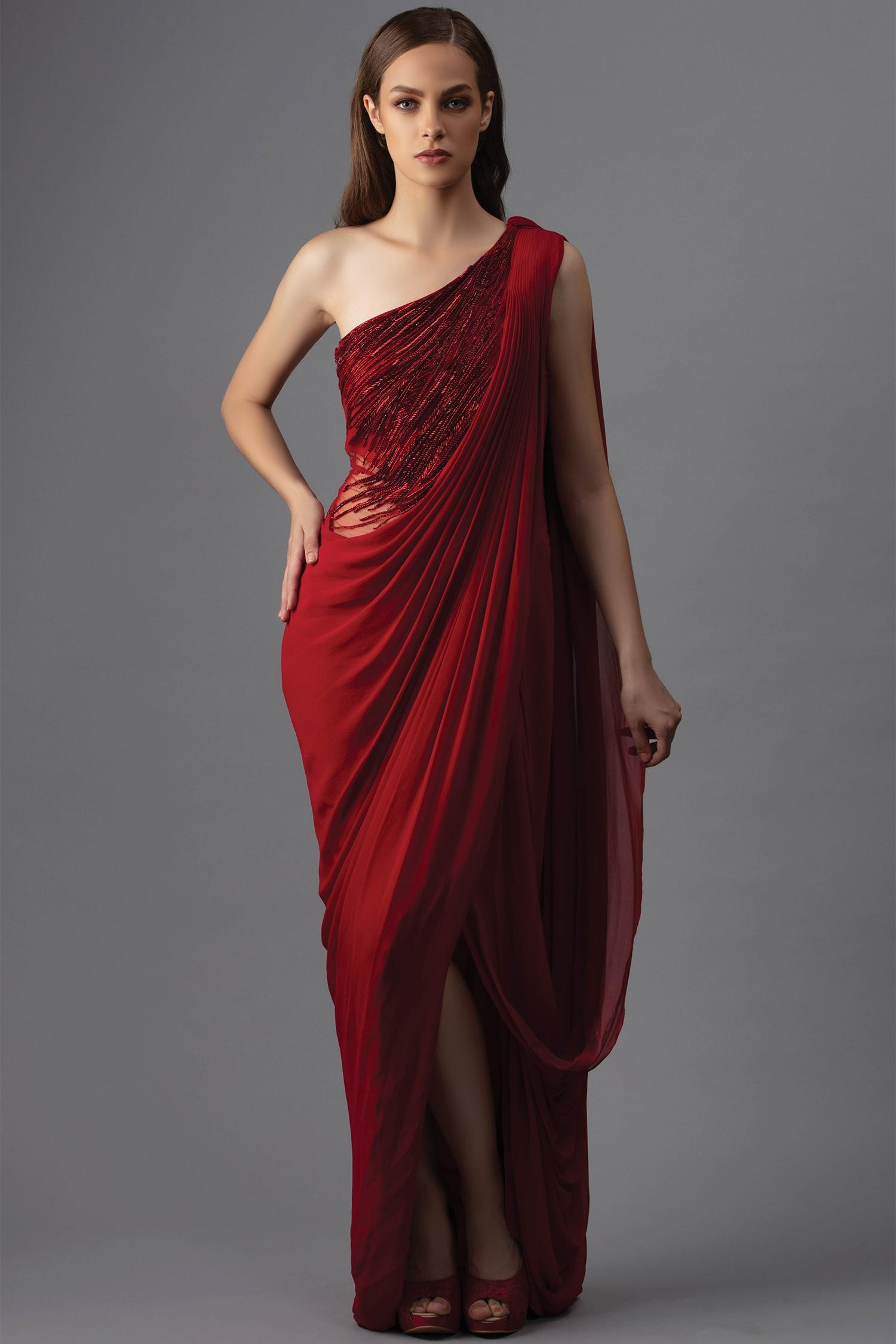 Buy Embellished Draped Saree Gown By Gaurav Gupta At Aza Fashions
