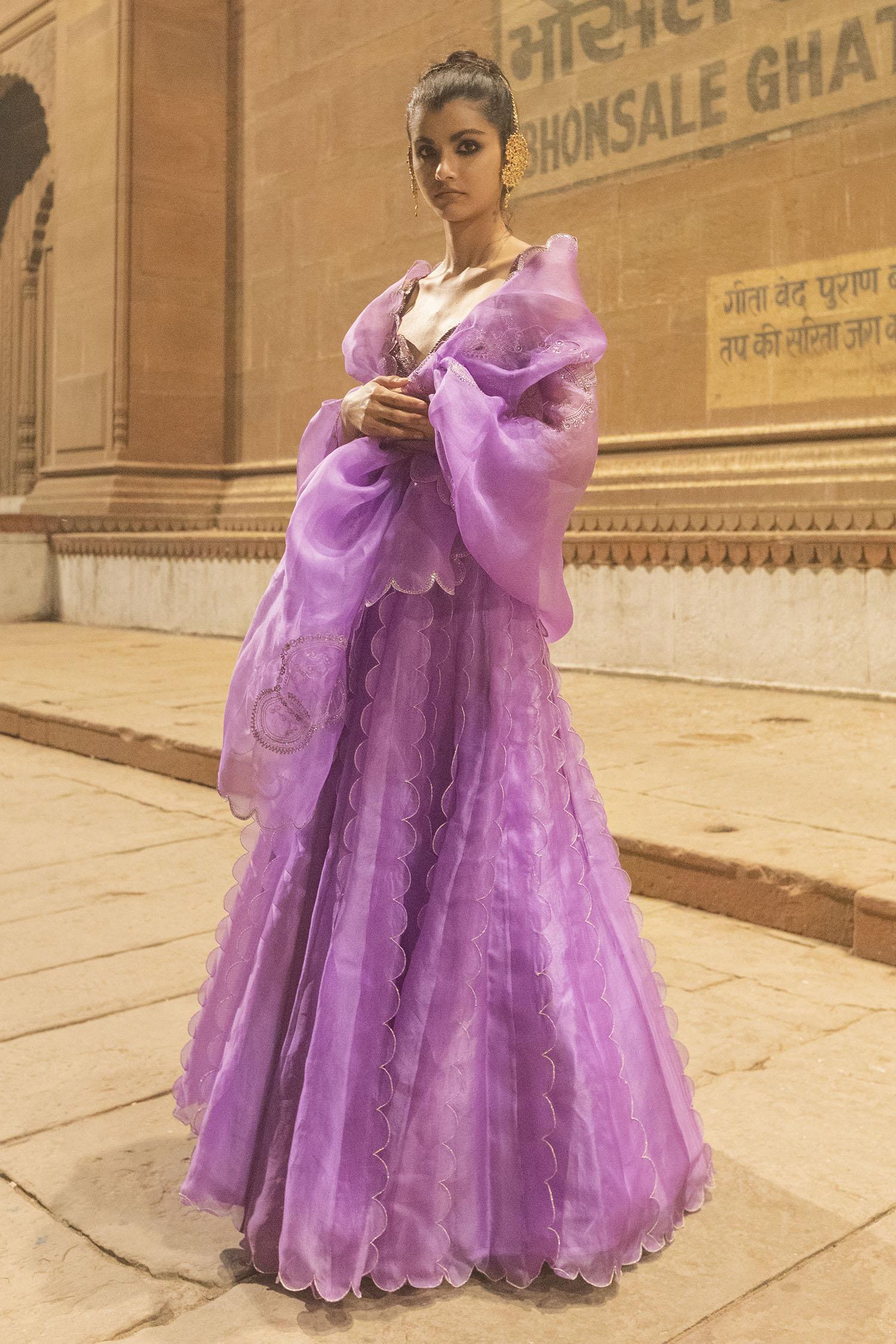Buy Organza Silk Lehenga Set by Label Earthen at Aza Fashions