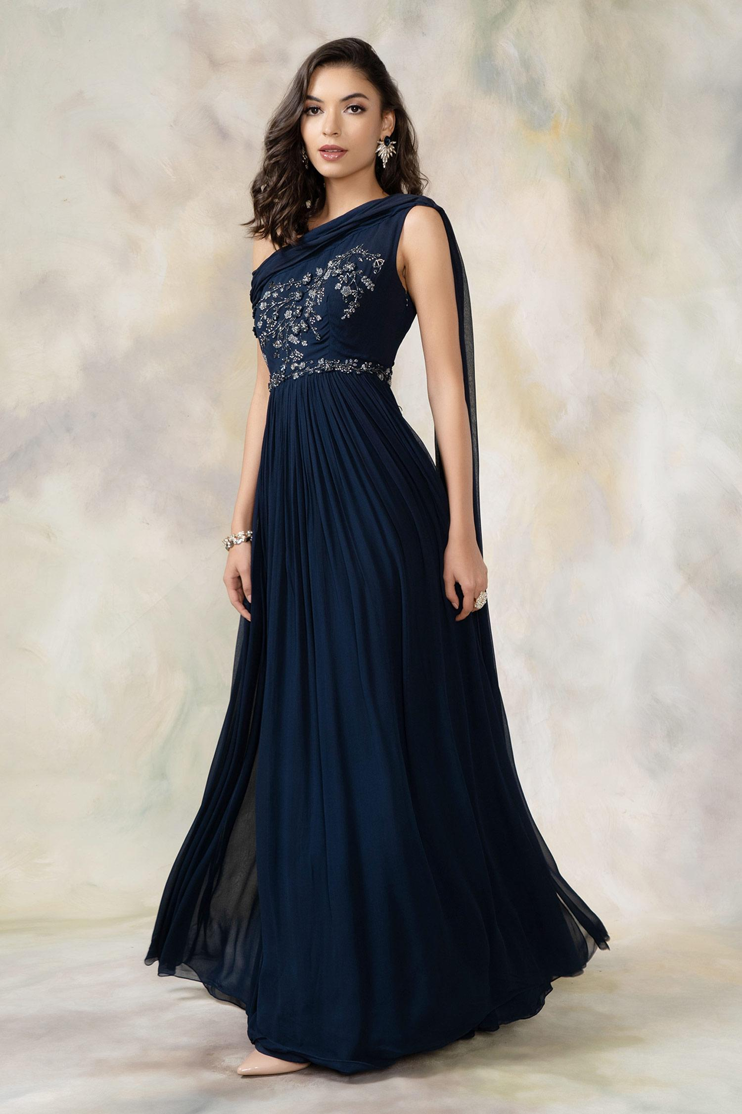 Buy Embellished One Shoulder Draped Gown By Pooja Peshoria At Aza Fashions