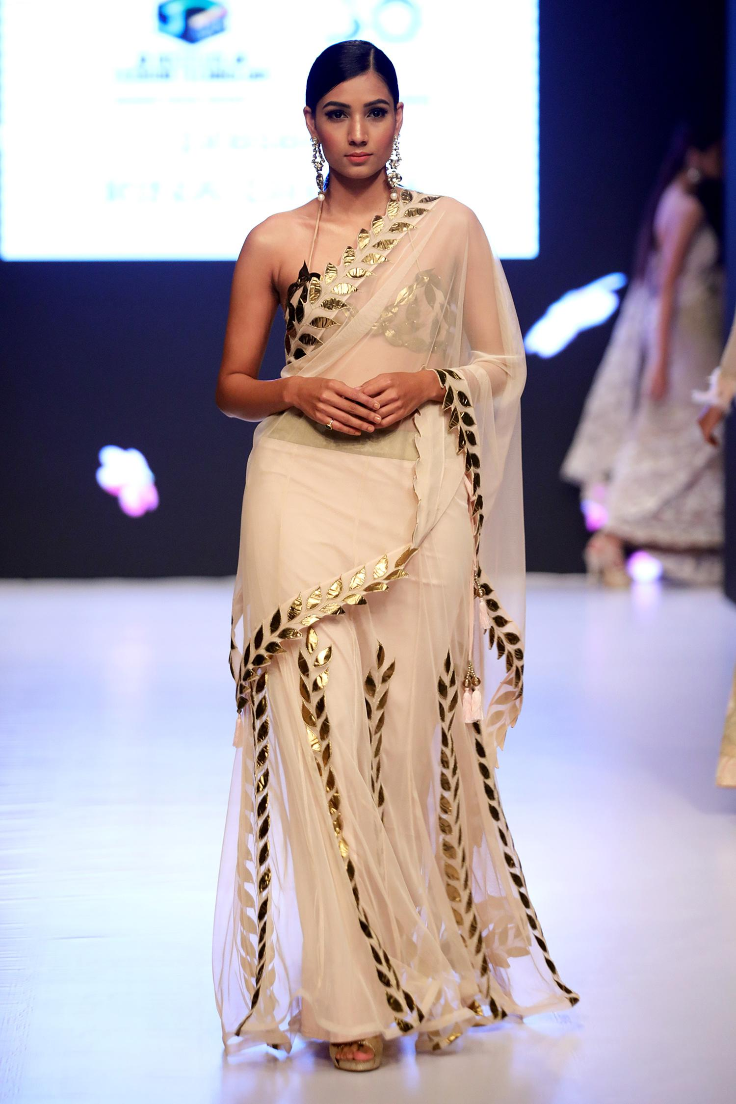 Buy Embroidered Pre Draped Saree With Blouse By Rina Dhaka At Aza Fashions