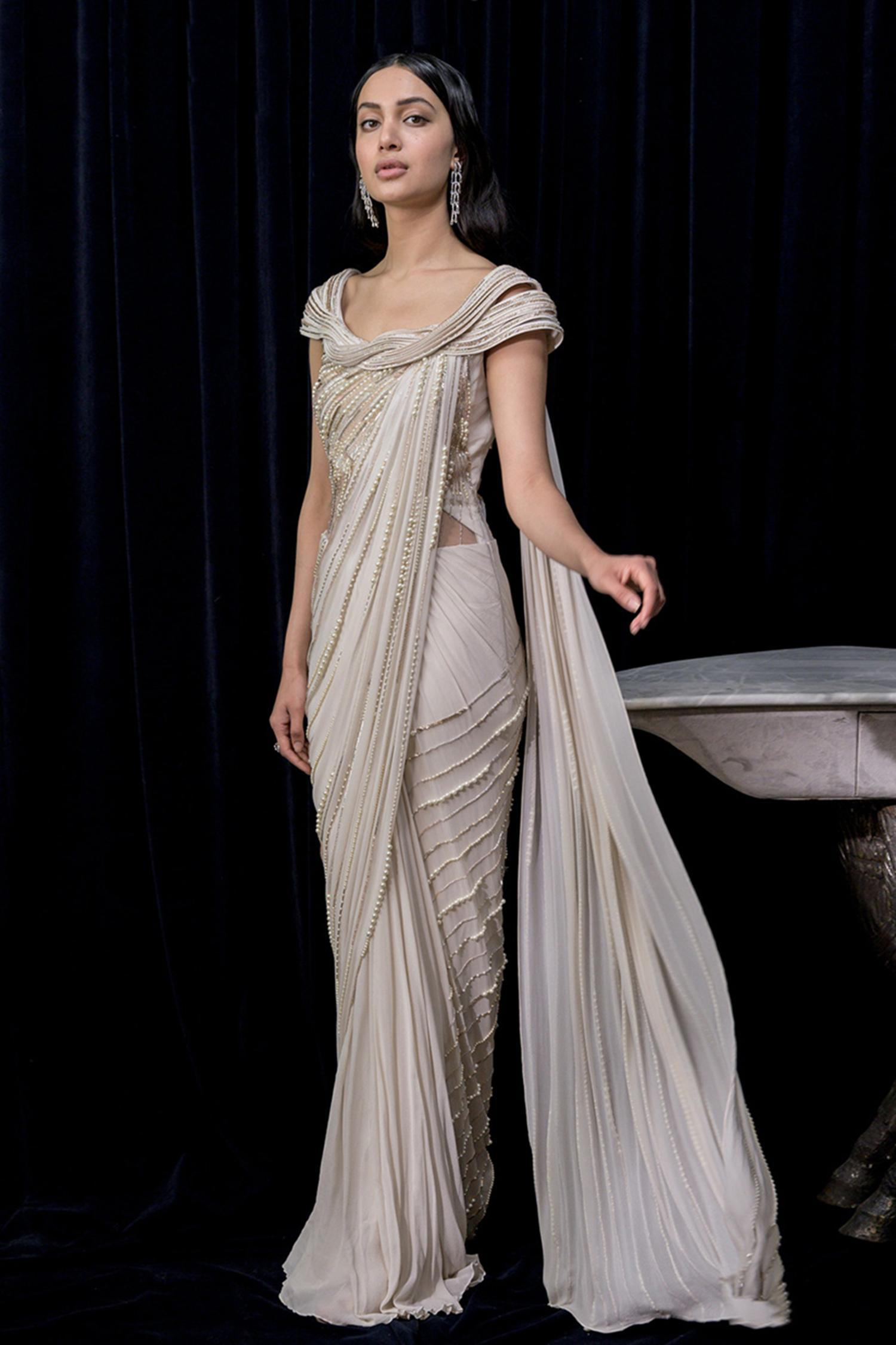 Buy Pre Draped Embroidered Saree Gown By Gaurav Gupta At Aza Fashions