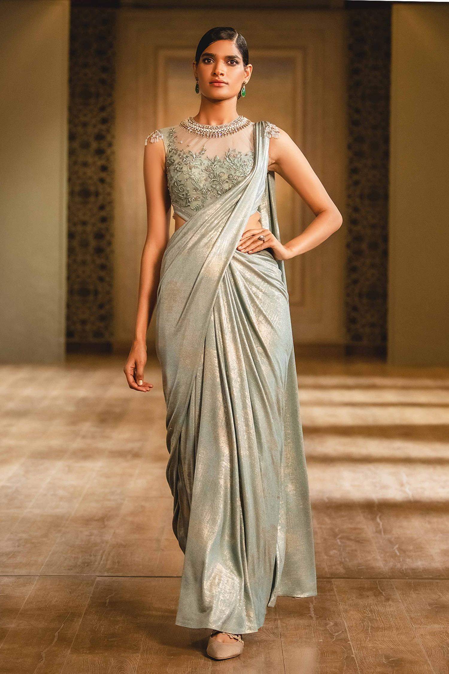 Buy Draped Saree Gown By Tarun Tahiliani At Aza Fashions